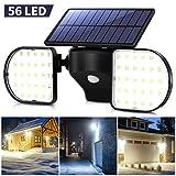 OUSFOT Luce Solare LED Esterno Lampada Solare da Parete con Pannello 56 LED Impermeabile L...