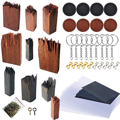 Woohome 51 Stück Holzteile für Silikonform Gießform, Ebenholz Sandelholz für DIY Holz Harz Epoxid Anhänger Kette Schmuck Ring Schmuck Handwerk DIY