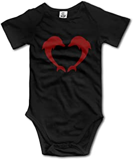 Dolphins Forming A Heart-2 Newborn Infant Baby Short Sleeve Jumpsuit Outfit 0-24 Months