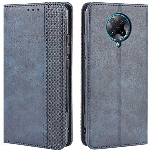 HualuBro Handyhülle für Xiaomi Poco F2 Pro Hülle, Retro Leder Stoßfest Klapphülle Schutzhülle Handytasche LederHülle Flip Hülle Cover für Xiaomi Poco F2 Pro Tasche, Blau