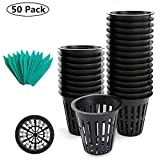 SYOURSELF Nursery Pots 50 Pack 3 inch net Pot, Garden Slotted Mesh Plastic Plant Net Cup with 50 Plant Labels, Heavy Duty Wide Lip Round Bucket Basket for Hydroponics(Black)