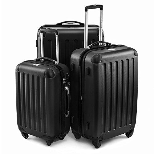 Hauptstadtkoffer® 3-delige kofferset hard shell trolleys zwart-mat 45L, 80L, 125L TSA-cijferslot model Spree