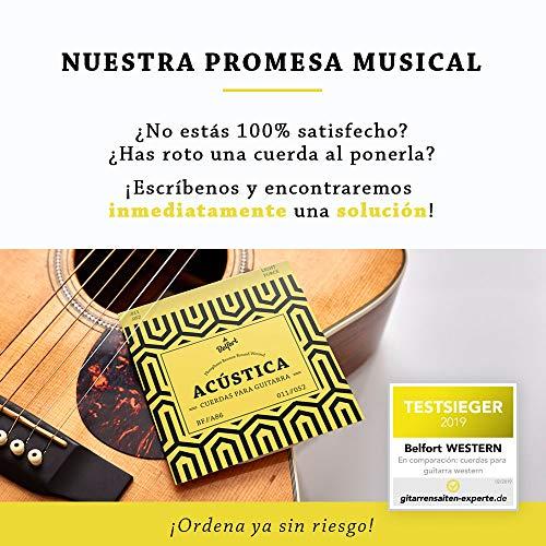 BELFORT® Juego de Cuerdas Guitarra Acústica de Fósforo/Bronce - Cuerdas de guitarra acustica - BONUS: 4 púas + Escuela de Guitarra (ebook)