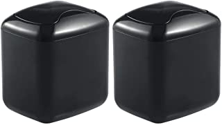 mDesign Modern Plastic Square Mini Wastebasket Trash Can Dispenser with Swing Lid for Bathroom Vanity Countertop or Tabletop - Dispose of Cotton Rounds, Makeup Sponges, Tissues - 2 Pack - Black
