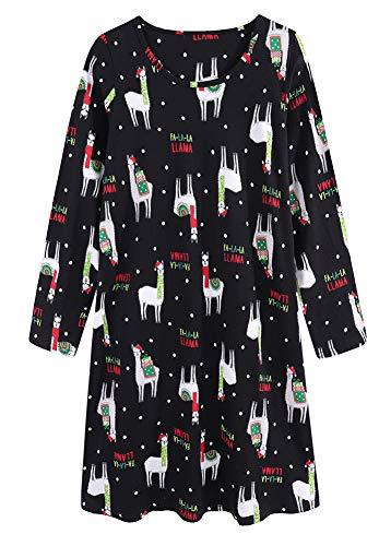 CHUNG Women's Cotton Nightgowns Long Sleeve Crew Neck Lovely Print Sleep Dress,Black Alpaca,S