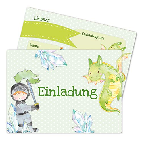 Papierdrachen 12 Einladungskarten zum Kindergeburtstag für Jungen - Motiv Ritter - Geburtstagseinladungen für Deine Geburtstagsparty (DIN A6 mit abgerundeten Ecken)