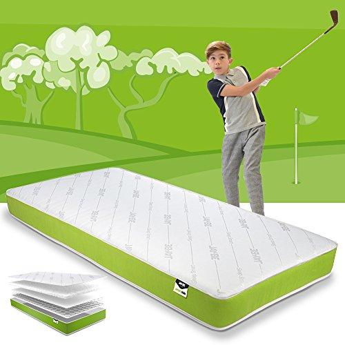JAY-BE Anti-Allergie-schaumstofffreie-Federkernmatratze für Kinder, Stahlfeder mit hypoallergener Airflow-Faser, weiß/grün, 190 x 90 x 16 cm