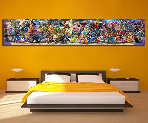 Neueste Leinwandmalerei Super Smash Bros Ultimative Update-Art Videospiel Poster Cartoon Bilder Grafik Leinwand Gemälde Wand-Kunst for Hauptdekor JYSLR003 Hohe Qualität