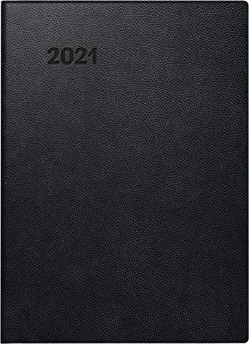 BRUNNEN 1073110901 Taschenkalender Modell 731 10, 2 Seiten = 1 Woche, 10 x 14 cm, Kunststoff-Einband schwarz, Kalendarium 2021
