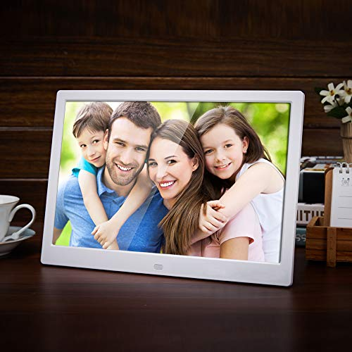 Digital Photo Frame Liedao 15.6 Inch LED Backlight HD 1280800 Full Function Digital Photo Frame Electronic Album Digitale Picture Music Video(White-US Plug)