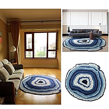 Creative Round Area Rug Floor Mat Rural Style Design Bedroom Rug Modern Simple Bedside Rugs Living Room Fashion Decoration Carpet (Diameter 78.7 /200cm, Blue)