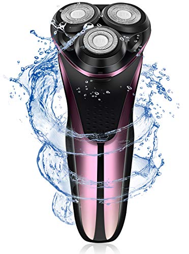 USB Rechargeable Electric Shaver for Men, IPX7 Waterproof Electric Razor, Wet and Dry Rotary Shaver, Mens Shaver with Pop-up Trimmer, Great Cordless Shaver for Sensitive Skin