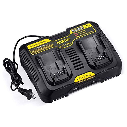 Dutyone 2 Ports Replacement Charger For Dewalt 12-20 Volt MAX Jobsite Charging Station DCB102 DCB102BP DCB104 DCB118 DCB115 DCB107 12V 20V Dual Port Charger