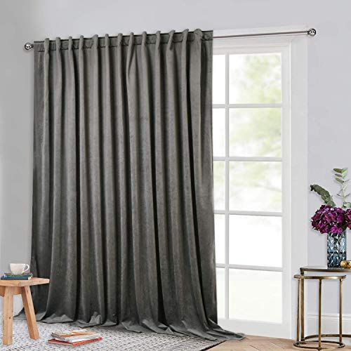 StangH Privacy Room Divider Curtains - Grey Velvet Drapes Extra Long High Ceiling Curtains for Living Room / Theater Room, Thermal Insulated Sliding Door Curtains, Grey, W100 x L120, 1 Panel