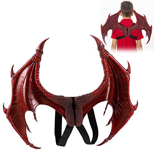 Alas de dragón para disfraz de alas, disfraz de dragón de Halloween, alas de cosplay, accesorios decorativos de Mardi, conjunto de accesorios para ropa para el favor de la fiesta de carnaval(Red)