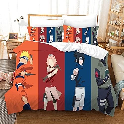 MJJLDMM Juego de Funda de edredón Color Naruto Anime Juego de Ropa de Cama Microfibra 3D antialérgico Funda nórdica con Cremallera y 2 Fundas de Almohada Dormitorio 140x200cm