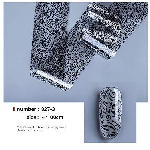 JSIYU pegatinas uñas Flor de encaje Hoja de uñas Pegatinas Barniz Mezcla Transferencia Lámina Uñas Calcomanía Cursores para uñas Diseños de manicura AV