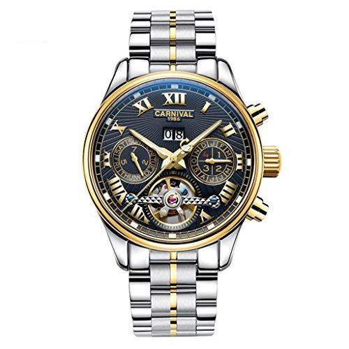 CARNIVAL Relojes para Hombre, Luminoso Tourbillon Automatico Reloj Mecanico Estilo de Negocios Multifuncional Impermeable Relojes de Pulsera 8670G (Color : Steel Strap - Gold Black)