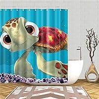 MXXBJLT シャワーカーテンカーテン水中世界魚亀シャワーカーテン生地防水ポリエステルバスバスルーム装飾スクリーンセットフック付き
