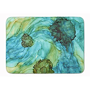 Caroline's Treasures 8952RUG Abstract in Teal Flowers Floor Mat, 19  x 27 , Multicolor