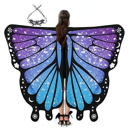 RHAPHONY Butterfly Wings for Women, Adult Butterfly Costume Women Halloween Butterfly Dress Fairy Wings Masquerades Party