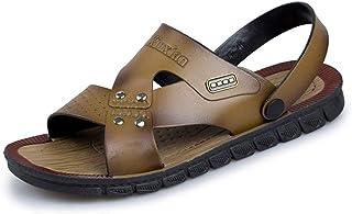 LIU-DUN SHOES Mens Outdoor Sandals Summer Water Beach Slipper Shoes for Men Antislip Fashion On Style Microfiber Leather Metaldecor Dual Purpose Pure Color (Color : Khaki, Size : 7.5 UK)