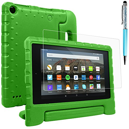Case & Screen Protector & Stylus Compatible Amazon Kindle 7, AFUNTA Convertible Handle Stand EVA Protective Case, PET Plastic Cover and Touch Pen 7 inch Tablet (5th Generation 2015 Release)-Green