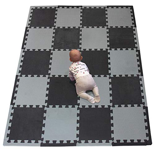 YIMINYUER Tappeto Puzzle da Gioco per Bambini, 30x30 Cm, in Gomma Eva, Colorato, Morbido Ed Elastico, Antiscivolo, Atossico Nero Grigio R04R12Z301020