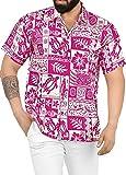 LA LEELA Casual Hawaiana Camisa para Hombre Señores Manga Corta Bolsillo Delantero Surf Palmeras Caballeros Playa Aloha 7XL-(in cms): 178-183 Ghosts Blanco_W127