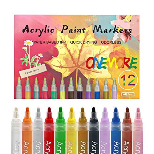 OneMore - Pennarelli acrilici, 12 colori permanenti, impermeabili, per pittura rocciosa, pietra, legno, plastica, vetro, ceramica, tela e fai da te