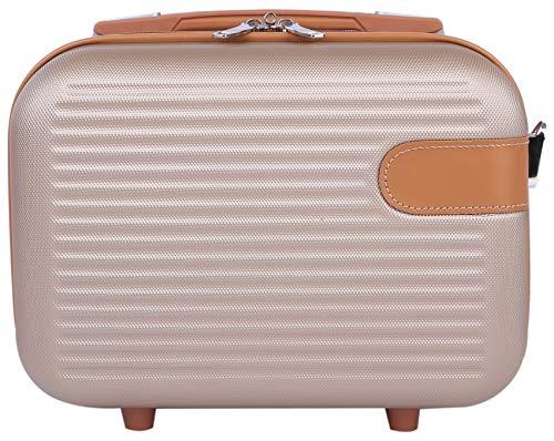 ミニスーツケース お出かけ 旅行 ショルダーベルト付き 2way キャリーオン可能 機内持ち込み 手持ちがかわいい 小さめサイズ ブラウン(S)