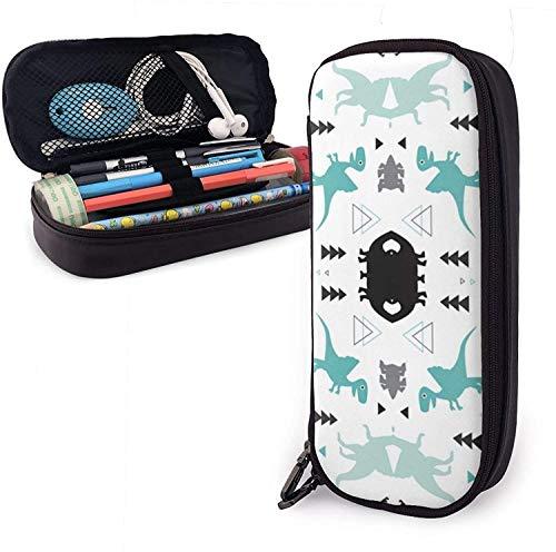 Organizador de escritorio duradero de cuero PU premium de gran capacidad para estudiantes para bolígrafos, lápices, elegante y divertido juego de dinosaurios, bolsa blanca con cremallera