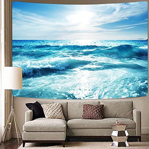 KHKJ Tapiz de la Gran Ola Paisaje del mar Azul Tapices para Colgar en la Pared Fondo de Tela psicodélico Decoración para el hogar Manta A14 150x130cm