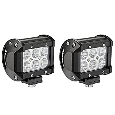 LED Light Bar, Northpole Light 2x 18W CREE Flood LED Pods LED Work Lights Driving Fog Lights for Off Road, Truck, Car, ATV, SUV, Jeep