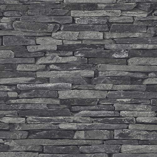 Vliestapete Steintapete Tapete Steinoptik Naturstein-Tapete Badezimmer-Tapete 914224 91422-4 A.S. Création Best of Wood`n Stone 2nd Edition | Grau Schwarz/Anthrazit | Muster (21 x 29,7 cm)