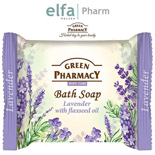Green farmaceutische badzeep stuk zeep met lavendel en lijnolie, 100 g