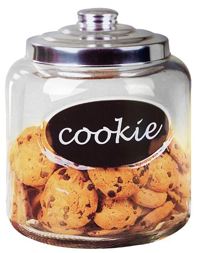 Home Basics Large Capacity Glass Cookie, Pasta, Sugar, Flour, Cereal, Jar with Secure Metal Lid and Decorative Jar Label