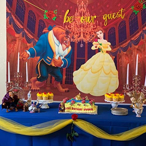 7x5 Beauty and The Beast Backgrounds for Photography Gold Palace Photo Backdrop Baby Shower Photographic Background Vinyl for Birthday Party