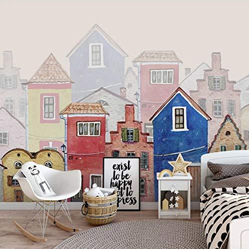 YIERLIFE Autoadhesivo Tela no tejida 3D infantil mural - casa de dibujos animados de la ciudad pintada a mano - Papel Pintado Pared Paisaje Foto Mural 3D Fotomurales Decorativos Pared Moderna Póster F