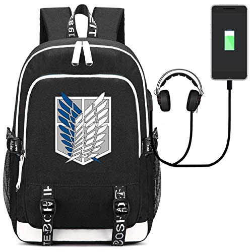 YOYOSHome Japanese Anime Cosplay Daypack Bookbag Laptop Bag Backpack School Bag with USB Charging Port (Attack on Titan 2)