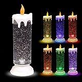 BURI LED-Glitterkerze mit Farbwechsler 24cm Weihnachtskerze Adventskerze Motivkerze