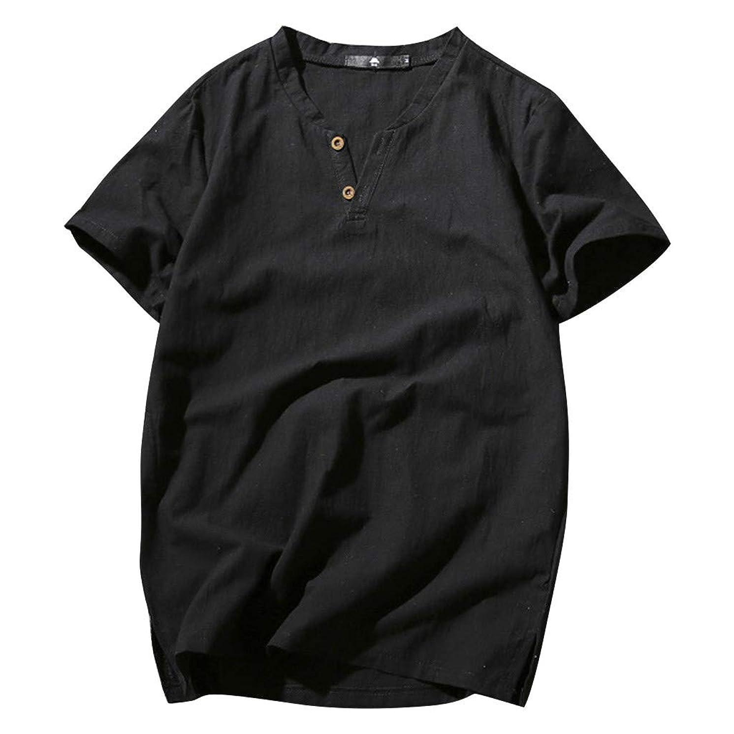 Mens Linen Shirts Tronet Men's Summer New Cotton-Linen Short-Sleeved Top Fashionable Pure Cotton Hemp Top