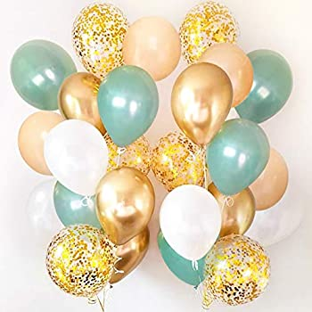 Sweet Baby Co Sage Green Balloons 50 Pack with Light Eucalyptus Peach Confetti Gold Metallic White for Balloon Garland Arch Kit Dark Safari Jungle Birthday Bridal Party Baby Shower Decorations