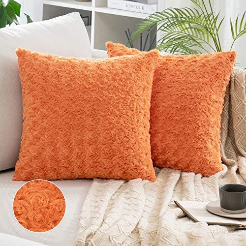 MIULEE 2 Stück dekorative Kissenbezüge aus Kunstfell, super weich, für Sofa, Schlafzimmer, 45 x 45 cm