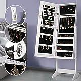 Armoire à Bijoux avec Miroir à pied - 143,5 x 36,5 x 41 cm - un Stockage Spacieux...