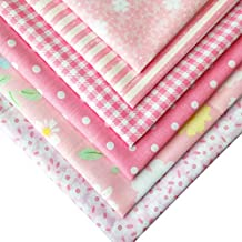 flic-flac 20 x 20 inches (51cmx51cm) Fat Quarter Natural Cotton Quilting Fabric Thick Craft Printed Fabric High Density Bundle Squares Patchwork Lint DIY Sewing (6pcs, Pink)