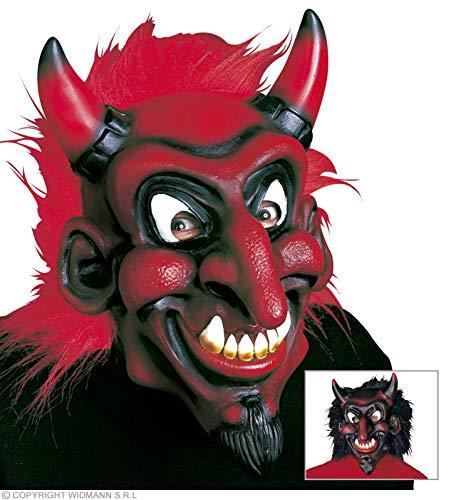 Widmann Teufelsmaske mit Plüschhaar Halloween Teufelsmasken Augenmasken & Verkleidungen für Maskerade Kostüm Zubehör