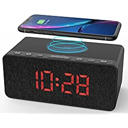 BUFFBEE Radio Alarm Clock with Wireless Charging and USB Port, Alarm Sounds, Volume Control, 12/24H, Snooze, Dimmable LED Display for Bedroom, Compatible with iPhone, Samsung and Others