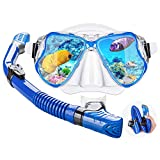 Dry Snorkel Mask Set Snorkeling Gear – Foldable Dry Snorkel Set with Dry-Wet Switchable Float Valve, Purge Valve Tube, Anti Fog 180 Panoramic Silicone No Leak Seal Mask for Adults and Youth-Blue