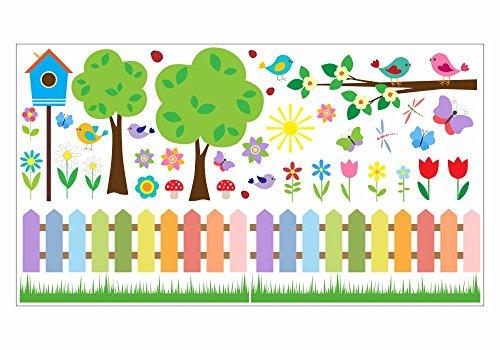 nikima - 073 Wandtattoo Wandbild Kinderzimmer bunter Garten Vögel Schmetterlinge Vogelhaus - in 6 Größen - niedliche Kinderzimmer Sticker Babyzimmer Aufkleber süße Wanddeko Wandbild Junge Mädchen (2000 x 1120 mm)